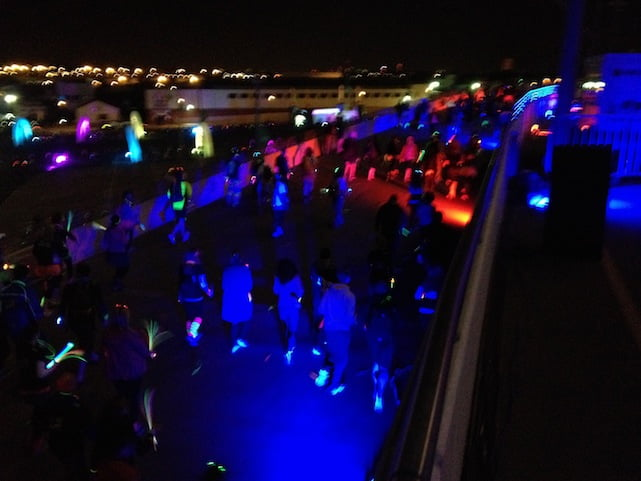 Neon looking runners at Electric Run London