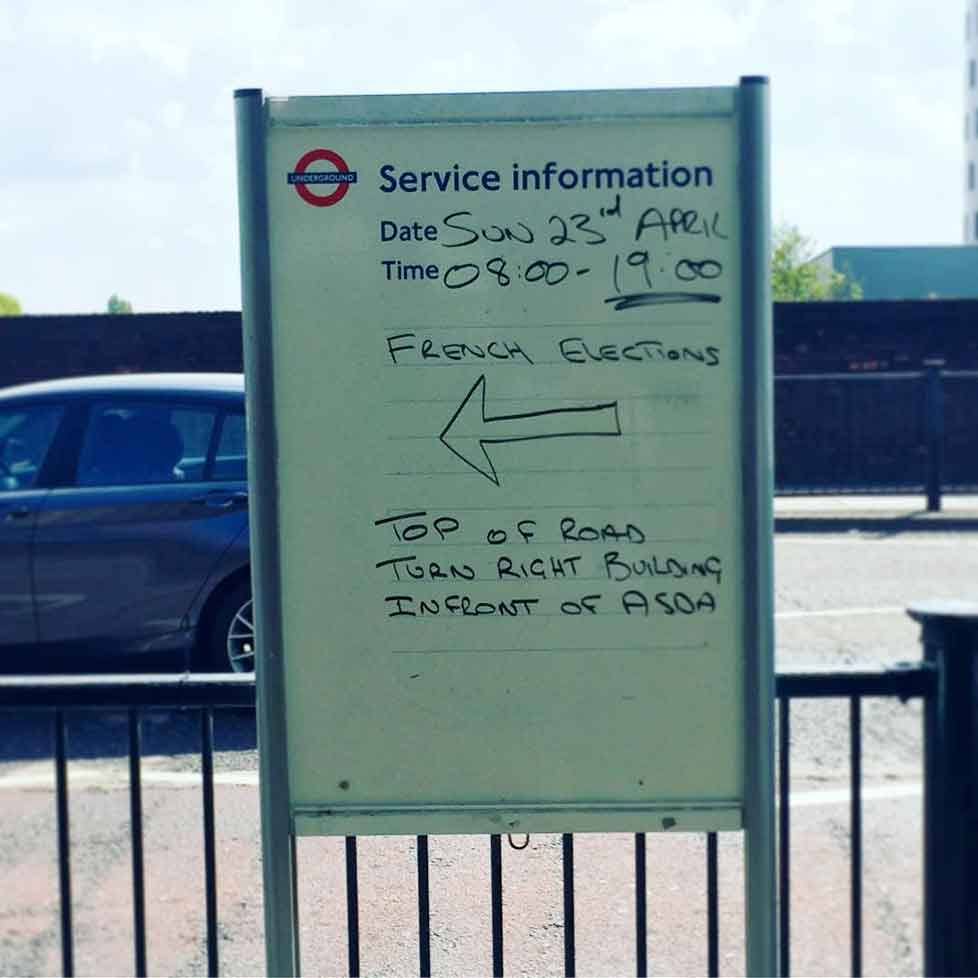 TFL directions to French elections in Wembley