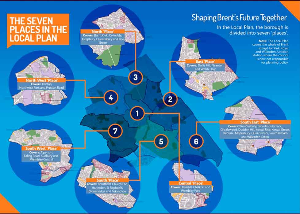 Map of the seven places of the brent local plan